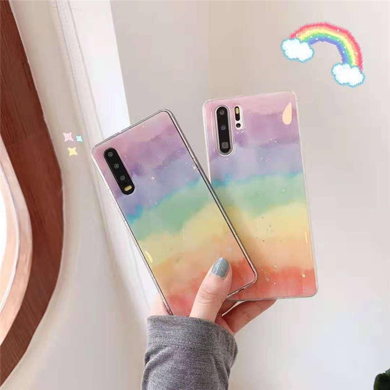 Glitter Bling Rainbow Soft Case For Vivo Z5X Y17 Y3 X27 V15 Pro V11i Y97 Y93 Y85 Y83 Y79 Y75 Y67 Y66 X9 X9S X20 Plus Back Cover