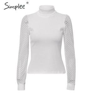 Image 4 - Simplee Elegante Kant Mouw Patchwork Vrouwen Blouse Coltrui Herfst Winter Vrouwelijke Gebreide Tops Streetwear Dames Blouses Shirts