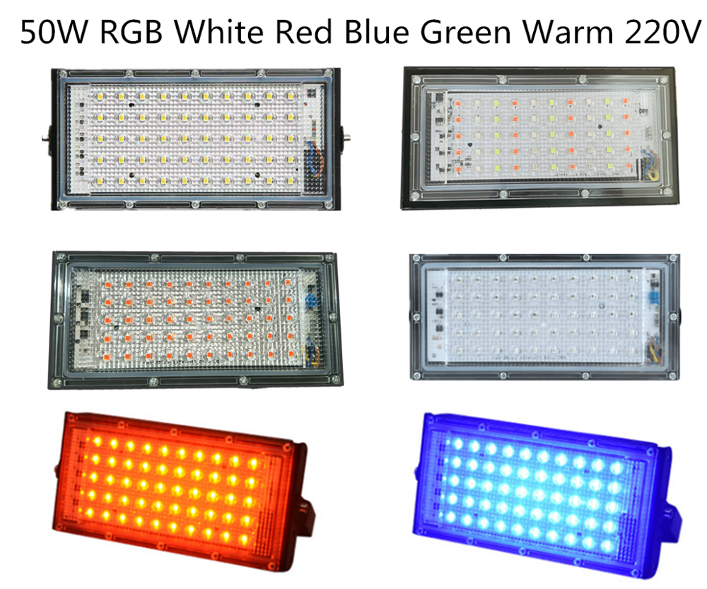 LED Iodine Tungste Lamp Hight Power 50W RGB Red Blue Warm AC : 220V Flood Light Spotlight Refletor Outdoor Lighting Advertising