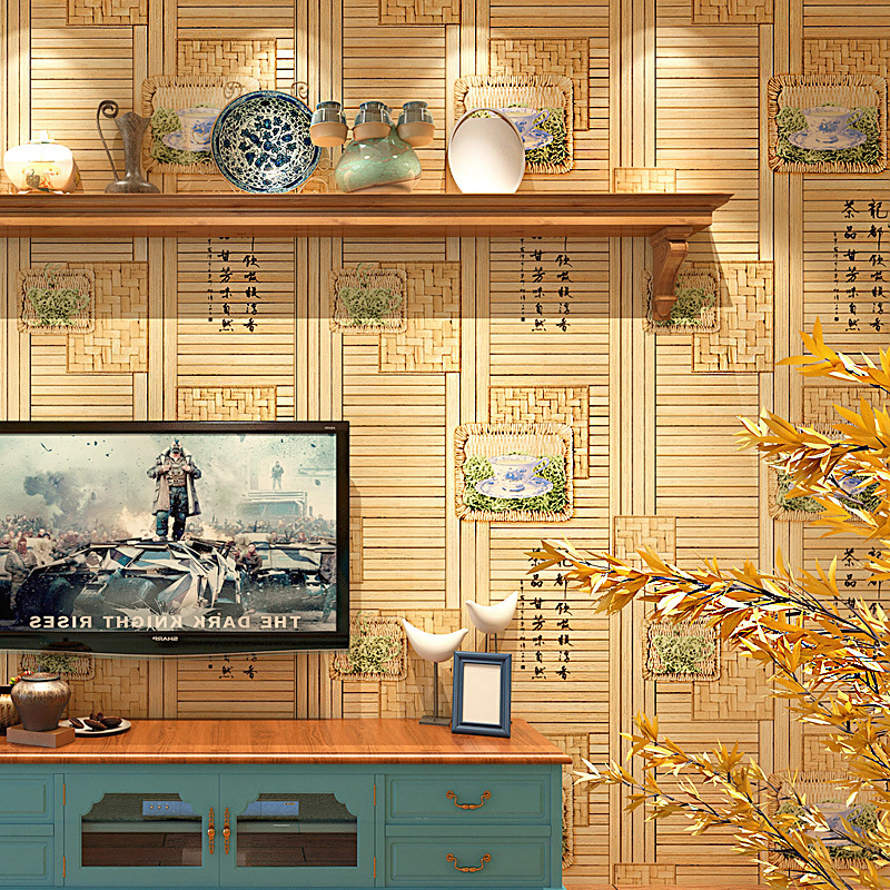 Chinese Style Classical Wallpaper Fang Mu Diao Window Decoration Wallpaper Tea House Japanese Style House Straw Entrance TV Back
