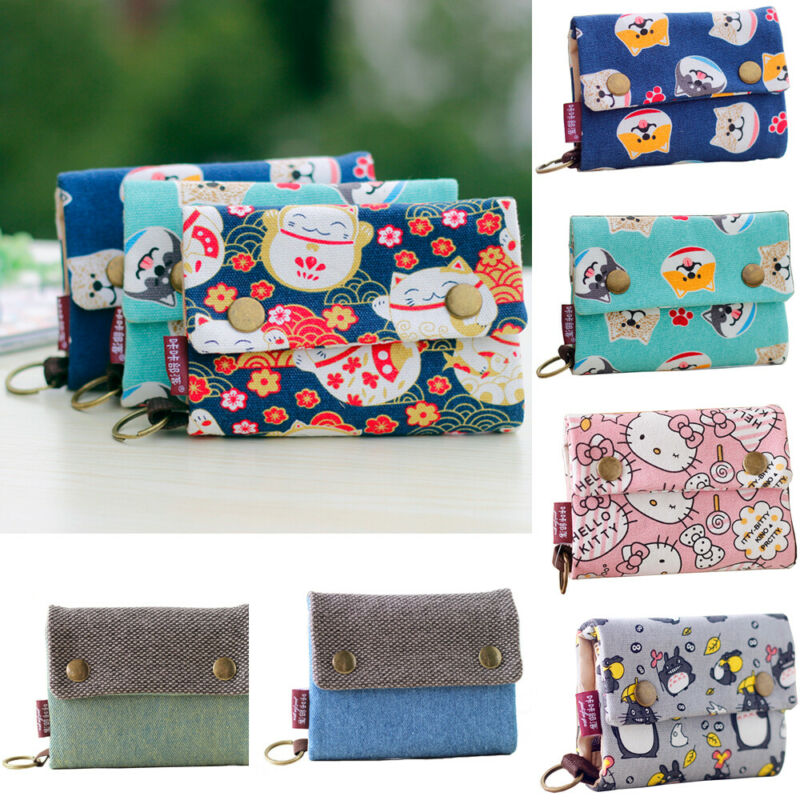 Women Short Small Money Purse Wallet Ladies Canvas Folding Coin Card Holder