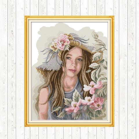 Contado e Carimbado Fio de Algodão Teenage Girl Ponto Cruz Bordado Kit Dmc Impresso Lona 14ct 11ct Faça Você Mesmo Artesanato
