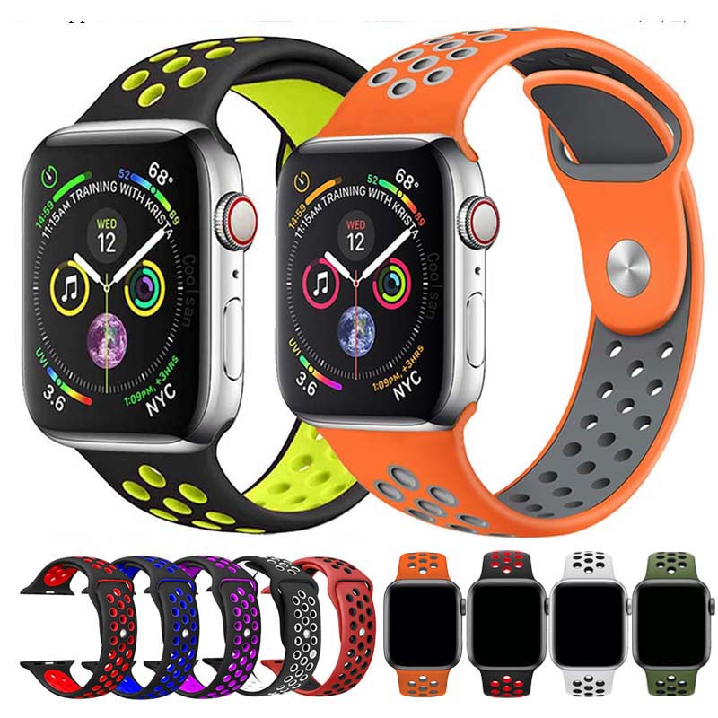 Soft Silicone Sports Band For Apple Watch Series 1 2 3 4 5 38MM 42MM Rubber Watchband Strap For 40MM 44MM IWatch Series5