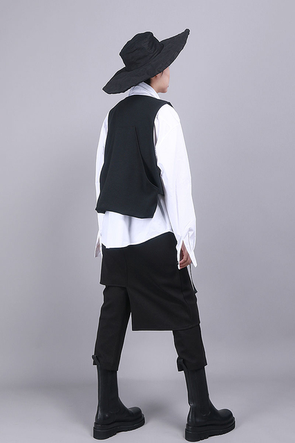 [EAM] Women Black Asymmetrical Split Joint Loose Fit Vest New V-collar Sleeveless   Fashion Tide Spring Autumn 2021 1R854 6