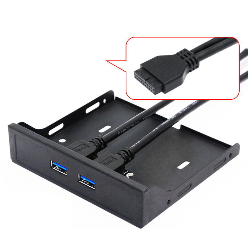 H1111Z 20Pin 2Port USB 3.0 Hub USB3.0 Front Panel Cable Adapter Metal Bracket for PC Desktop 3.5 Inch Floppy Disk Drive Bay NEW|Add On Cards| |  - title=