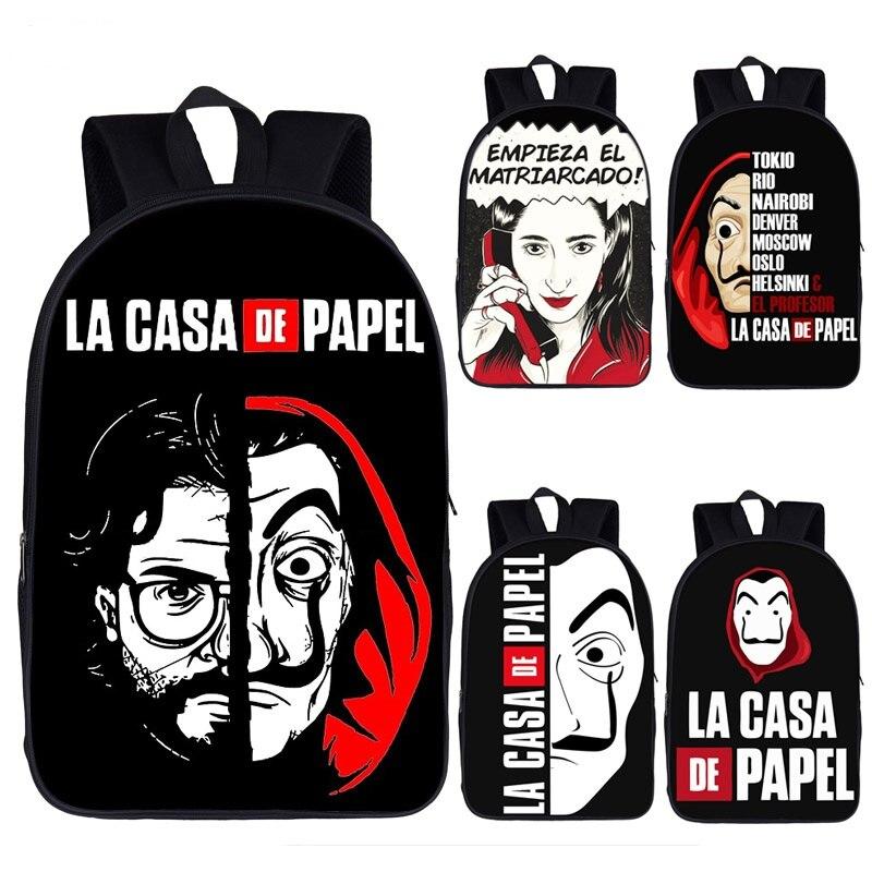 Money Heist Backpack Women/Men Rucksack TV Show La Casa De Papel Teenage Boys Girls Daypack House Of Paper School Backpack