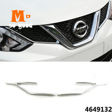 Fit For Nissan Qashqai 2014 2015 2016 2017 Chrome Front Mesh Grille Grill Head Light Cover Trim Insert Styling Molding Garnish dot mesh insert crochet trim shirt