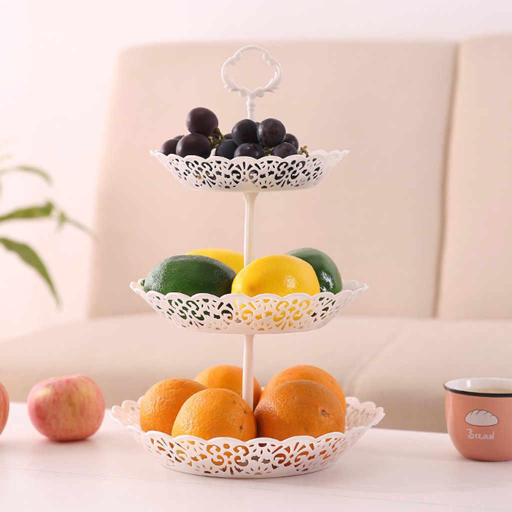 3-Tier Plastik PP Cupcake Stand Pernikahan Pesta Ulang Tahun Kue Piring Stand Permen Makanan Penutup Tray Cupcake Display Tower Putih # LR3