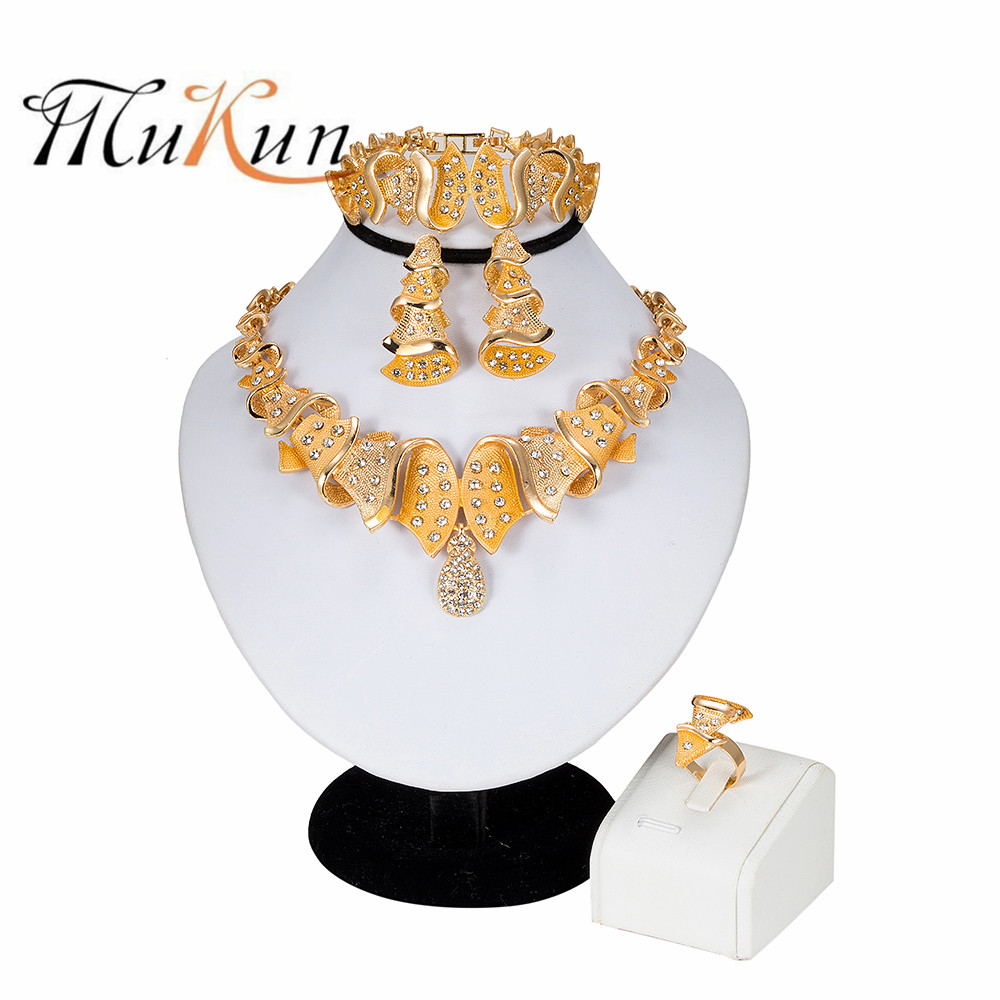 2019 Egyptian Jewelry Fashion Layered Necklace Embellished Crystal Earrings Ring Bracelet Female African Wedding