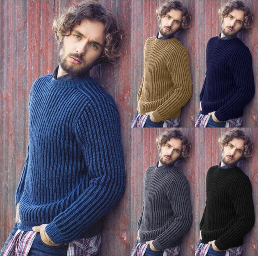 New Men Autumn Winter Sweater Pullovers Jumper Men's O-Neck Mixed Color Fashion Trend Long Sleeve Sweaters Top Coat