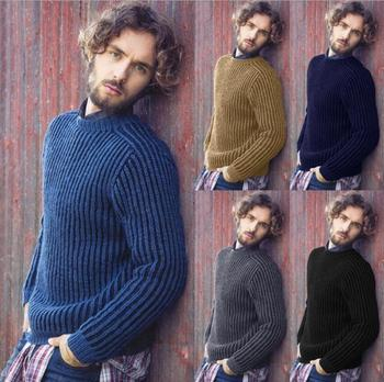 цена на New Men Autumn Winter Sweater Pullovers Jumper Men's O-Neck Mixed Color Fashion Trend Long Sleeve Sweaters top coat