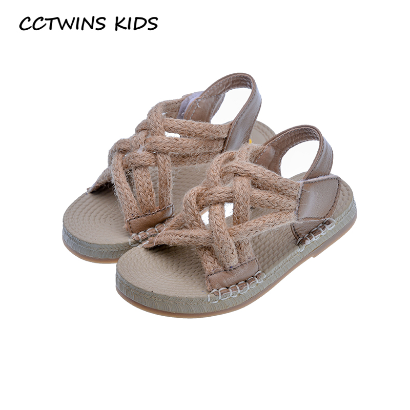 CCTWINS Kids Shoes 2020 Summer Toddler Pu Leather Flat Baby Girls Fashion Princess Sandals Toddler Brand Soft Shoes Black PS837