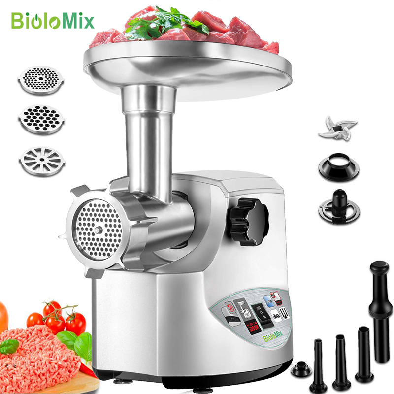3000W Max Powerful Electric Meat Grinder Heavy Duty Home Meat Mincer With 3 Grinding Plates,3 Sausage Stuffer & Kubbe Attachment