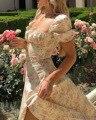 Женское длинное платье с высоким разрезом, элегантное винтажное платье с цветочным принтом и кружевными рукавами-фонариками, одежда на лет...