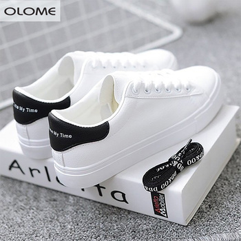 HOT Women Sneakers 2020 Fashion Breathble Vulcanized Shoes Pu leather Platform Lace up Casual White