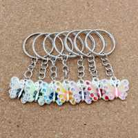 Key Ring Rhinestone Enamel Butterfly Pendant Key Ring Travel Protection DIY Accessories 70pcs/lots 7 color A-511f