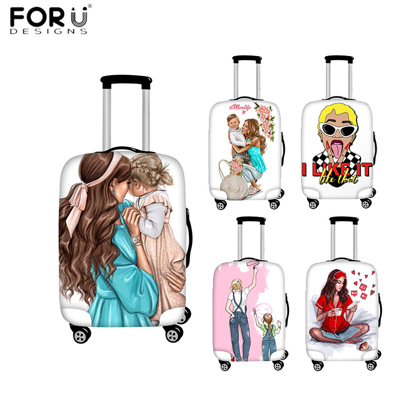 FORUDESIGNS Super Mommy's Girls Print Luggage Cover Travel Accessories Suitcase Protective Covers For 18-32 Inch Baggage Cases