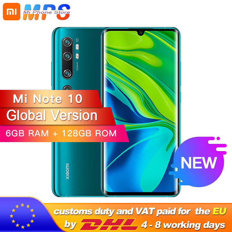 Global Version Xiaomi Note 10 6GB 128GB 108MP Penta Camera Smarphone 5260mAh Battery 10x Optical Zoom Double Curved Screen