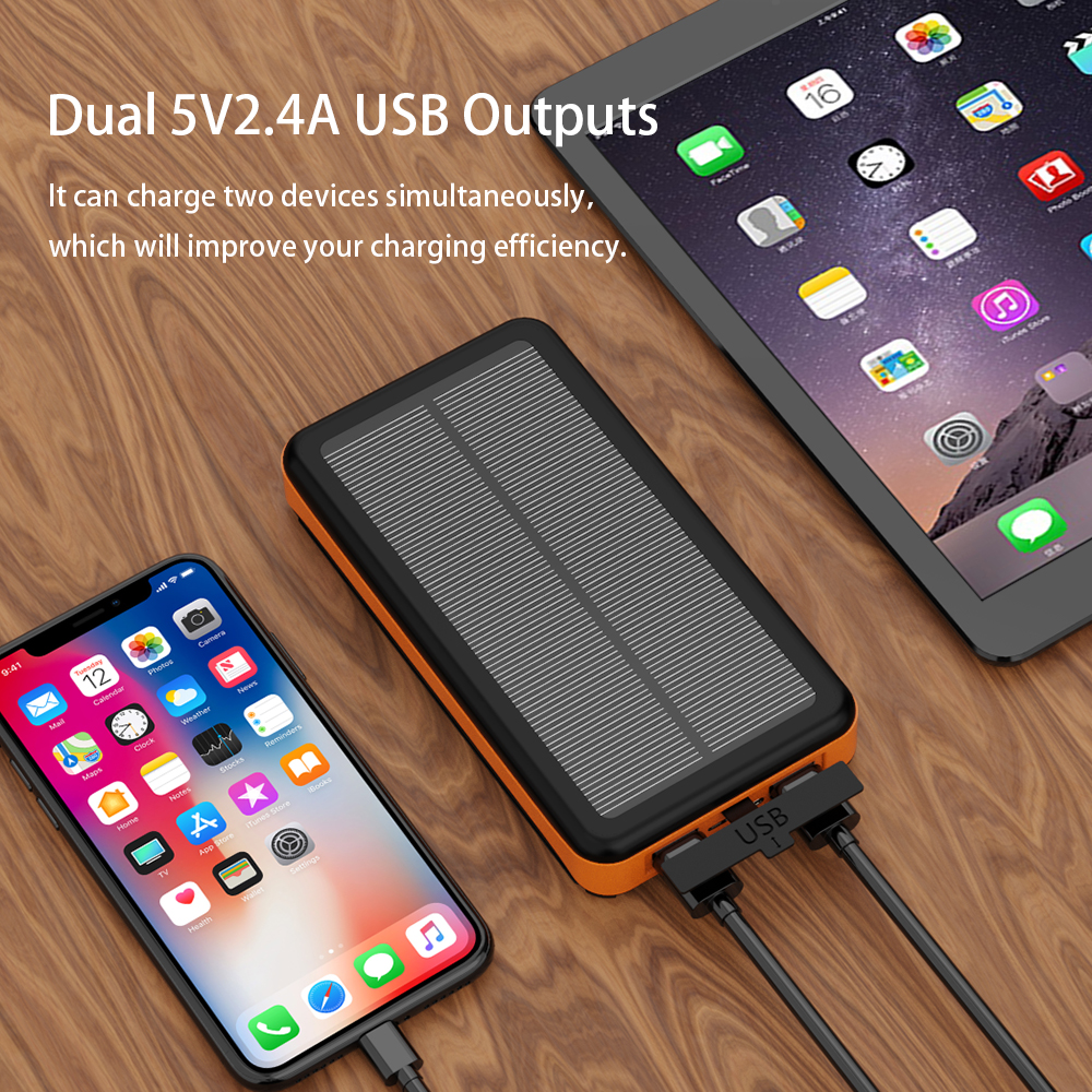 Image 5 - Rugged Solar Power Bank 25000mAh Solar External Battery Charger Waterproof Detachable Solar Panels High Efficiency Powerbank.-in Power Bank from Cellphones & Telecommunications