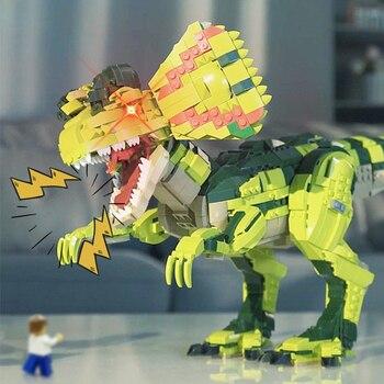 цена на 2076 pcs Dinosaur Building Blocks T-rex Dilophosaurus Model Blocks Dinosaur Roar Sound Bricks Educational Toys For Children Gift