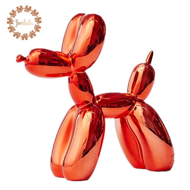 Červená metalíza střední VELIKOST XMAS Dárkový balón soška figurka Socha balón Pes americký pop art pryskyřice řemeslo, doprava zdarma
