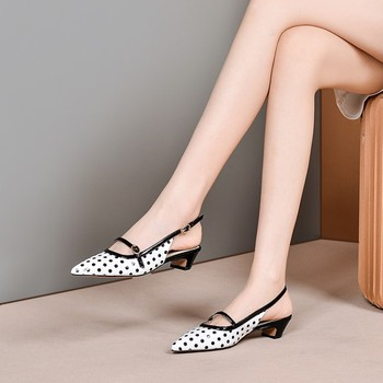 MLJUESE 2020 women slippers Soft cow leather Rome style summer polka dot pointed toe white color high heels sandals party