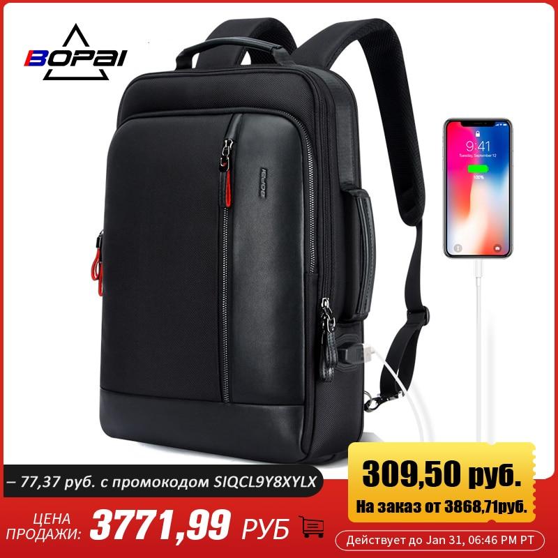 BOPAI Anti-vol agrandir sac à dos USB Charge externe 15.6 pouces sac à dos pour ordinateur portable hommes étanche école sac à dos sac pour adolescent