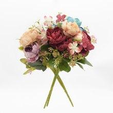 Искусственный Пион 7 вилок головок украшение дома Шелковый цветок