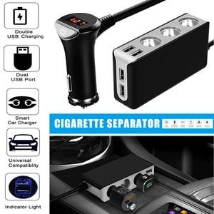 Hot 12V Car Cigarette Lighter Splitter Power Adapter Outlet 3 Sockets with 4 USB Charger J99|Cigarette Lighter| |  -