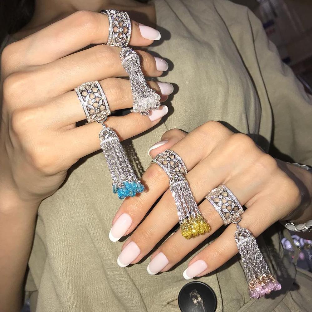 Bague à franges en paille à quatre feuilles pour femme couleur gland blanc jaune rose bleu cristal supérieur bijoux de luxe vie 925 bijoux en argent