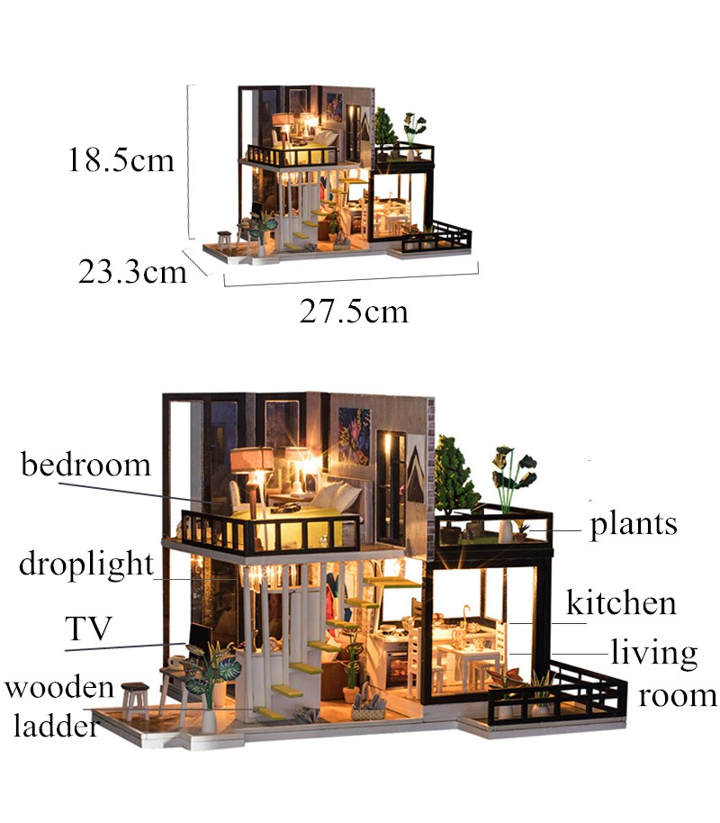 Image 3 - diy big doll house wooden doll houses kitchen miniature villa dollhouse kast furniture kit travaux manuels adulte oyuncak ev-in Doll Houses from Toys & Hobbies