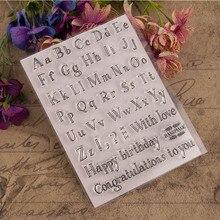 1 Pcs TPR Cartoon Birthday Silicone Seal DIY Decorate Alphabet Clear Stamp Scrapbooking Album Transparent Seal  11.5x15 cm