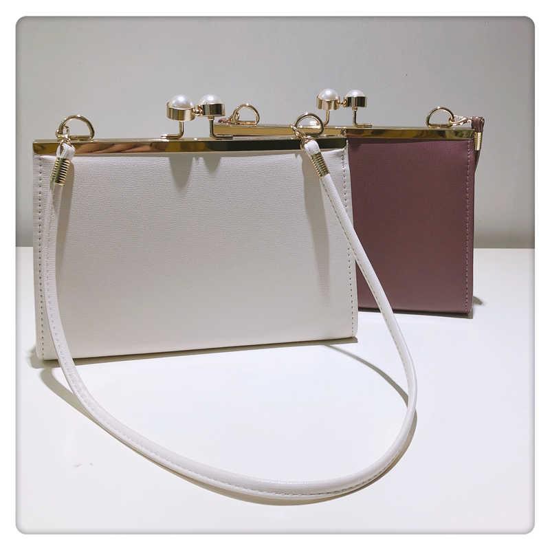 NEUE PU Leder Vintage Damen Handtaschen Frauen Messenger Taschen Totes Tasche Designer Umhängetasche Schulter Tasche Clip Täglich Kupplung Perle
