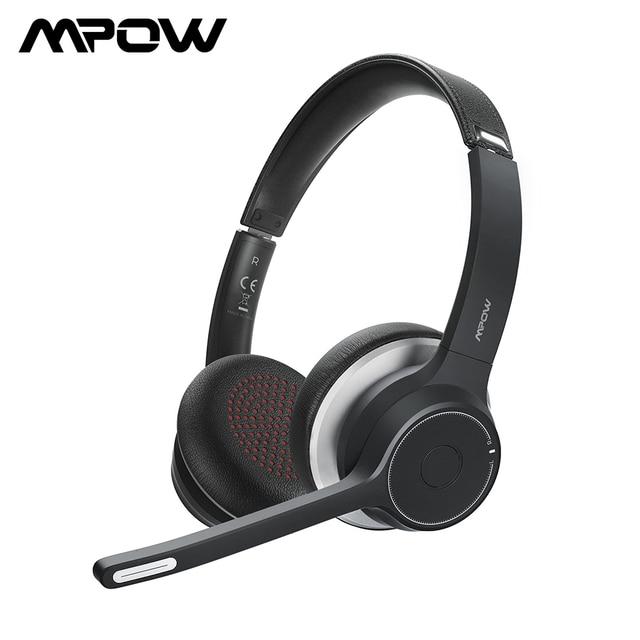 Cuffie Wireless Mpow HC5 aggiornate cuffie Bluetooth 5.0 con microfono CVC8.0 a cancellazione di rumore per telefono PC Computer Office