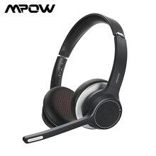 Модернизированные Mpow HC5 беспроводные наушники Bluetooth 5,0 гарнитура с CVC8.0 шумоподавление Microphpne для телефона ПК компьютер офис