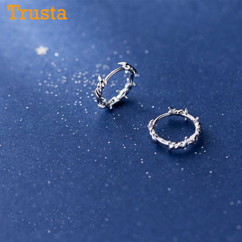 Trusta 925 Sterling Silver Hoop Earring Barbed Wire Ear Cuff Clip On S925 Earrings Gift For Women Girl Teen Jewelry DS1410