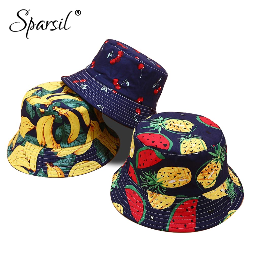 Sparsil Unisex Fruits Printed Bucket Hat 2-Side Wearable Cute Summer Hat Cotton Foldable Caps Sun Protected Fishing Beach Panama