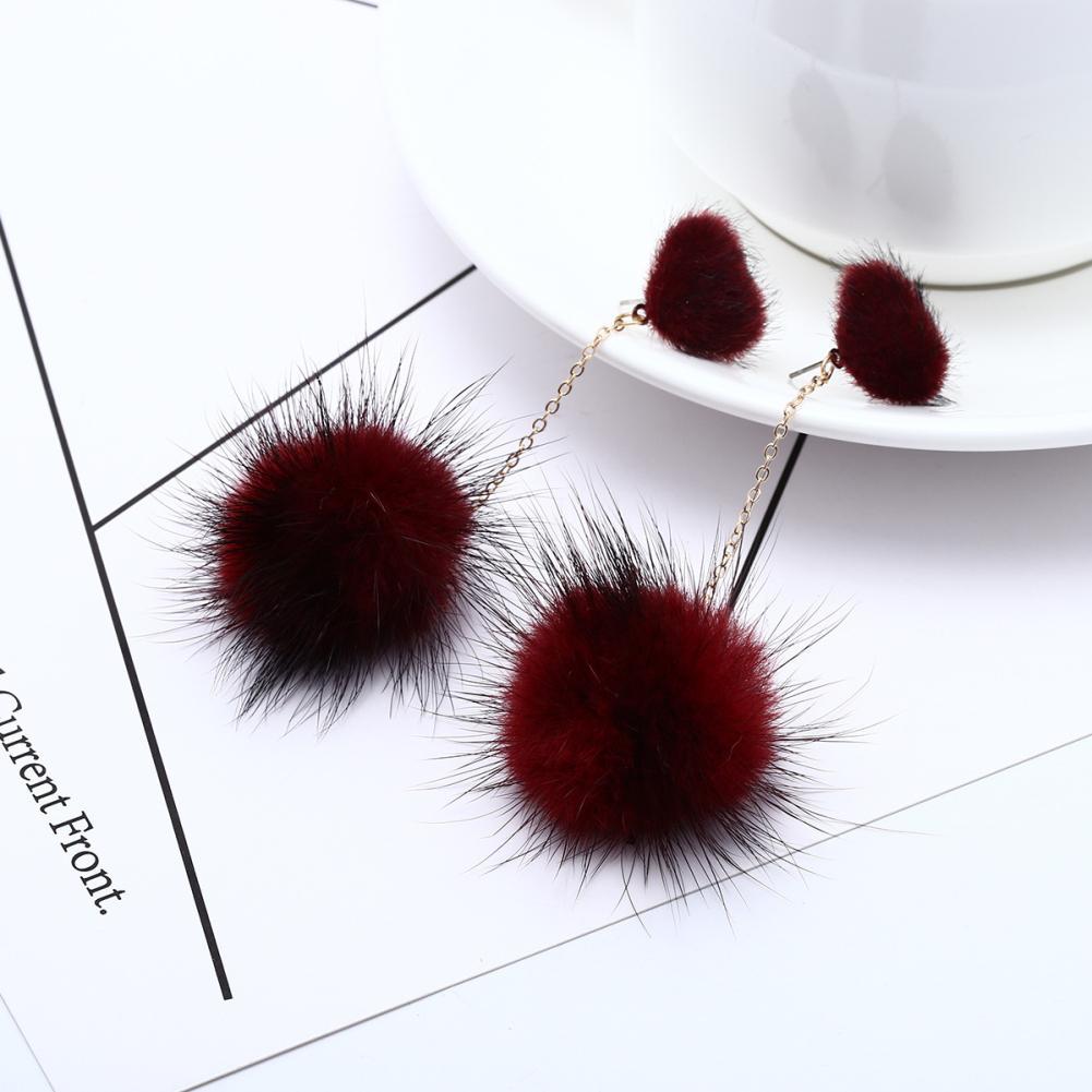 Sweet Women Pompom Long Dangle Heart Faux Pearl Ear Stud Earrings Jewelry Gift