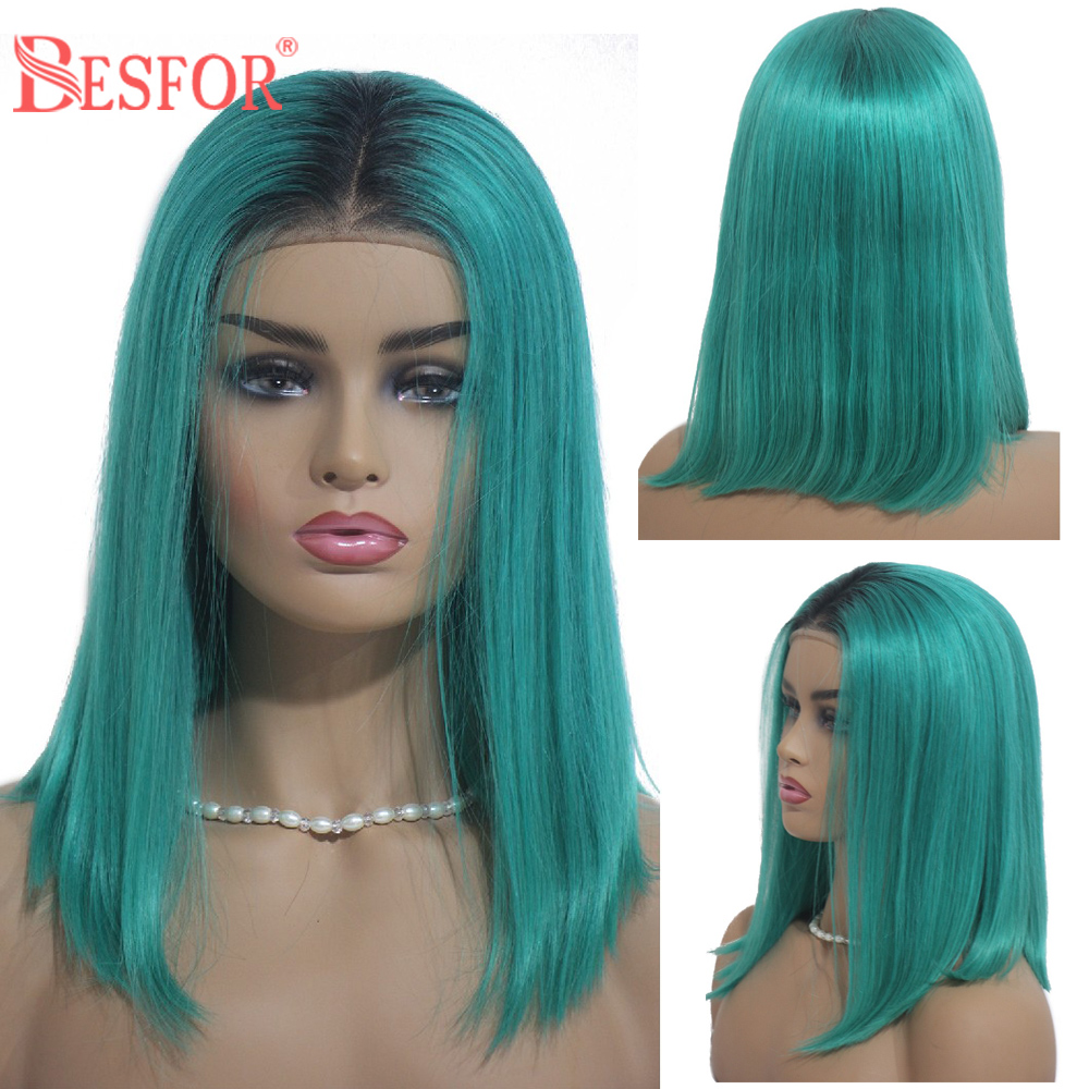 BESFOR Real Virgin Human Hair Wigs Short Bob Natural Straight Shoulder Length Highlight Lake Green Blue 13×6 Lace Front Wigs