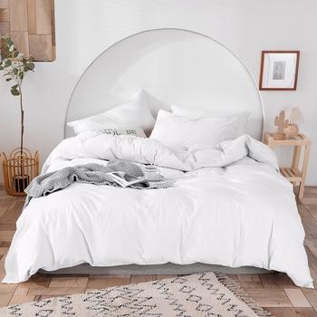 Luxury 100% Cotton Duvet Cover Set High-end Bedding Set Queen King Size 3Pcs White Black Blue Gray Pink Duvet Cover 1