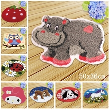 3D Animal Latch Hook Rug Kits DIY Needlework Button Package Yarn Cushion Mat Cartoon horse Embroidery Carpet Free Shipping