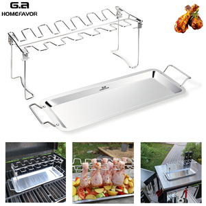 G.a HOMEFAVOR BBQ Chicken Leg Wing Grill Cooking Rack 14 Slots BBQ Poultry Chicken Leg Roaster Stainless Steel Chicken Wing Rack(China)