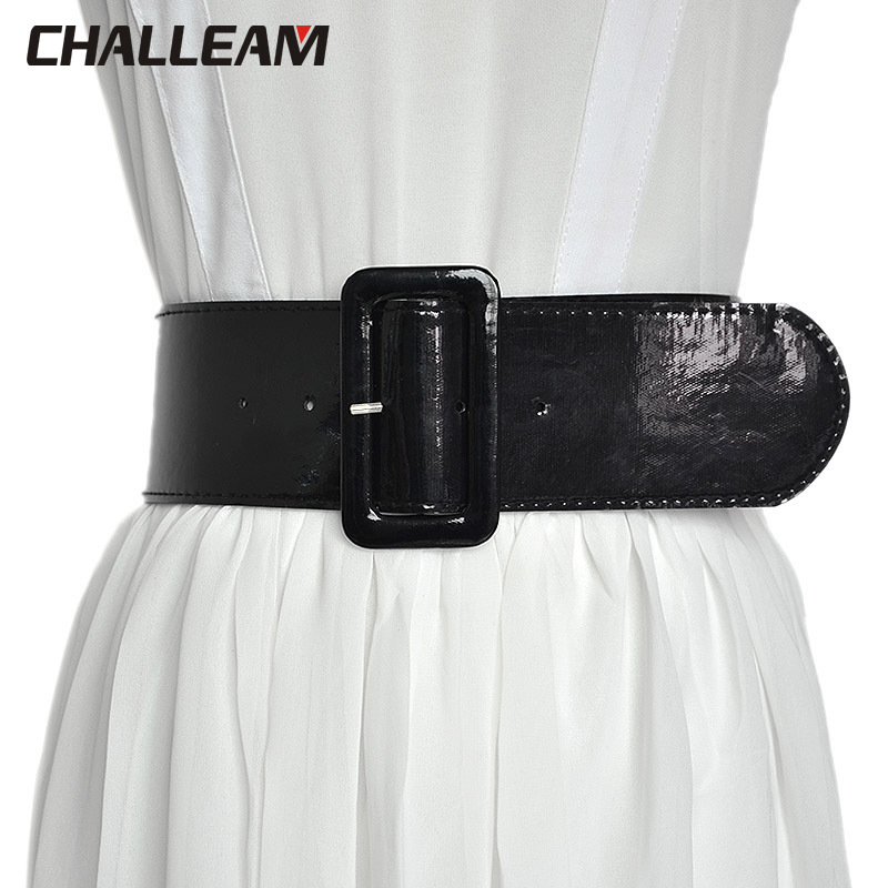 Fashion Women's Wide Belt Women's Wild Pin Buckle Faux Leather Lightweight Small Waist Seal X220