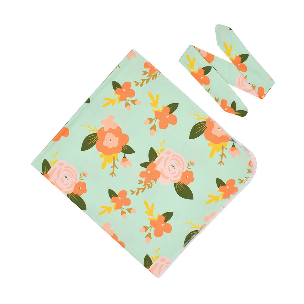 Girl Boys Swaddle Blanket Floral Print Toddler Newborn Baby Home Headband Set Wrap Gift For Shower Sleeping Party Fashion Daily