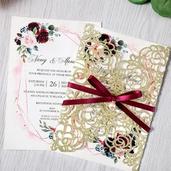 50pcs Gold Glitter Cut Floral Invitation Cards for Wedding / Party / Quinceanera / Anniversary /  Birthday, CW0024