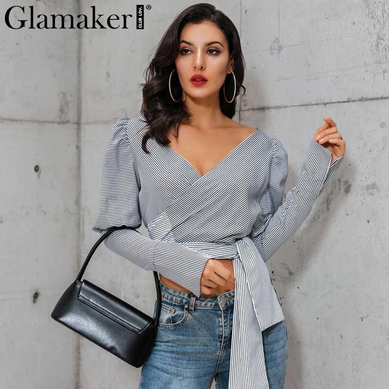 Glamaker Sexy manches longues bouffantes noir blouse chemise femmes rayé ceinture blouse haut court automne femme col en v élégant blusas haut