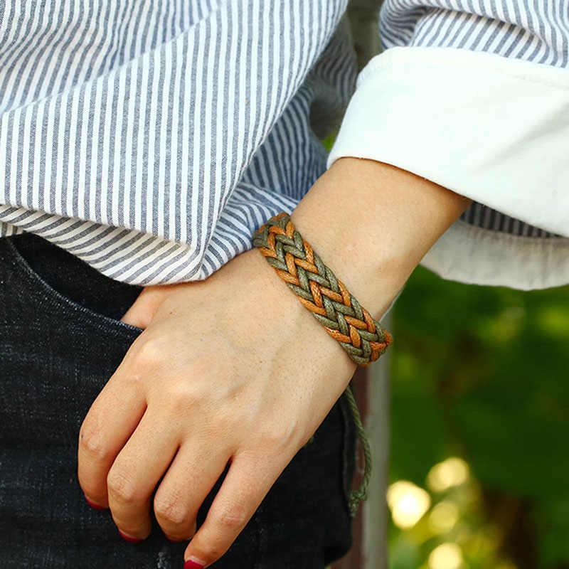 Boho ethnique fait à la main Bracelet été plage tresse chaîne coton Wrap tissé corde amitié bracelets pour femme hommes bijoux