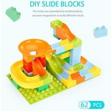 Mármore corrida labirinto bola grande tamanho pista blocos de construção diy montagem tijolos compatível duplos educação do bebê brinquedos para crianças