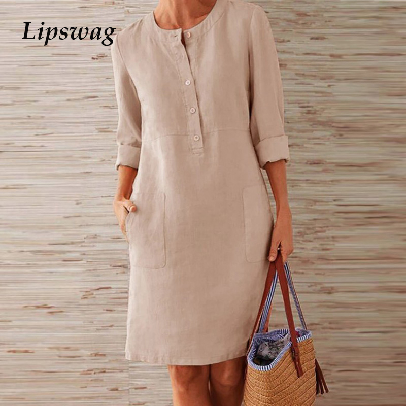 Lipswag 5XL Autumn Cotton Linen Dress 2019 Fashion Button O-Neck Midi Party Dress Women Long Sleeve Pocket Solid Dress Plus Size
