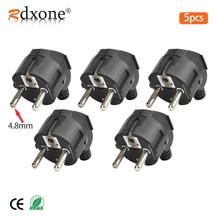 Rdxone 16A EU enchufe de energía eléctrica Rewireable de 4,8mm, macho para enchufes de cable, adaptador de toma de corriente, enchufe de conector de cable de extensión